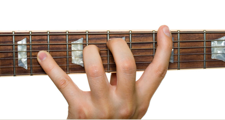 Guitar stretched fingers